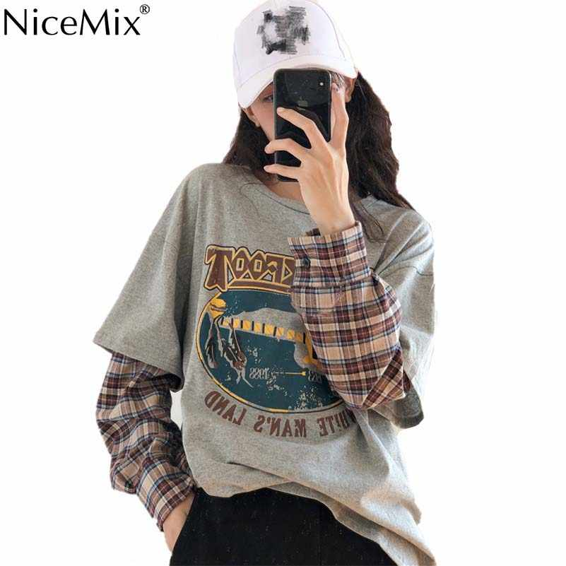NiceMix 春原宿 Tシャツ女性パッチワーク偽 2 個プリント長袖チェック柄 Tシャツ韓国ストリートプルファムジャージ