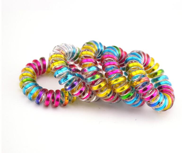 Hot Sale 5 PCS Telephone Line Cord Rubber Bands Colorful Striped Gum Elastic Hair Band For Girls Women Hair Accessories