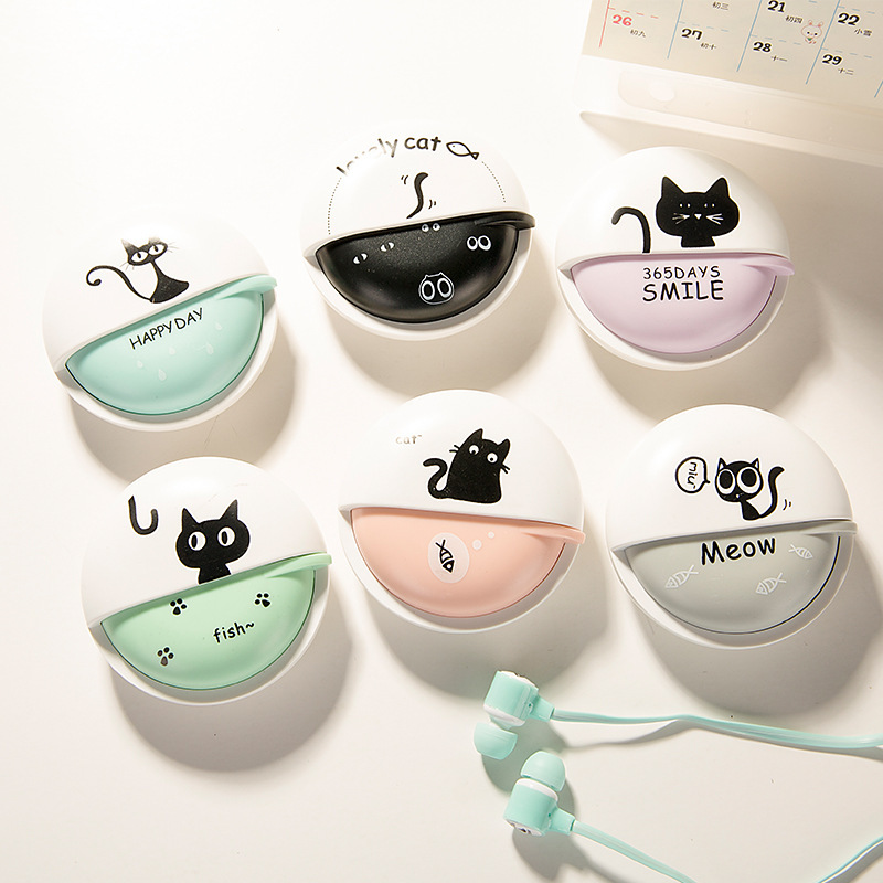 Free shipping in-ear earphone kitty cute cat colorful for mp3 mp4 music player with microphone storage box for kid girl gift cute cartoon cat claw style in ear earphones for mp3 mp4 more blue white 3 5mm plug
