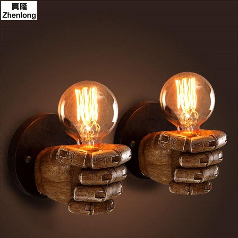 Retro Staal Creatieve E27 Lampen Wandlamp Links Rechts Vuist Vorm Wandlamp Bar Koffie Winkel Loft Studie Foyer Eetkamer Thuis Deco Goederen Van Hoge Kwaliteit
