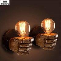 Wall Light Fist Shape Wall Lamp Fisting Shop Led Bulb Retro Grey Lampe Avec Forme Sur Les Murs Oda Sol Anahtarı Lampe Holz Metal