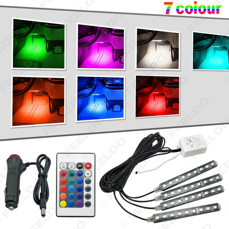 4pcs set car interior decorative rgb led strip light atmosphere lamp kit foot lamp with 24 key. Black Bedroom Furniture Sets. Home Design Ideas