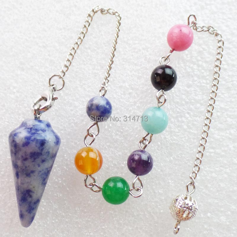 (Min.order 10$ mix)Wholesale 1 piese Sodalite 32X15MM Pendulum With 7pcs Mixed 8mm beads ...