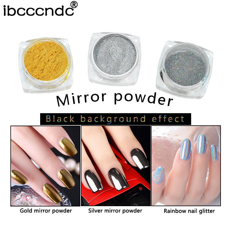 Professional Nail Art Tools Shiny Glitter Gold Silver Shimmer Mirror Powder Nails Glitters Decoretions ...