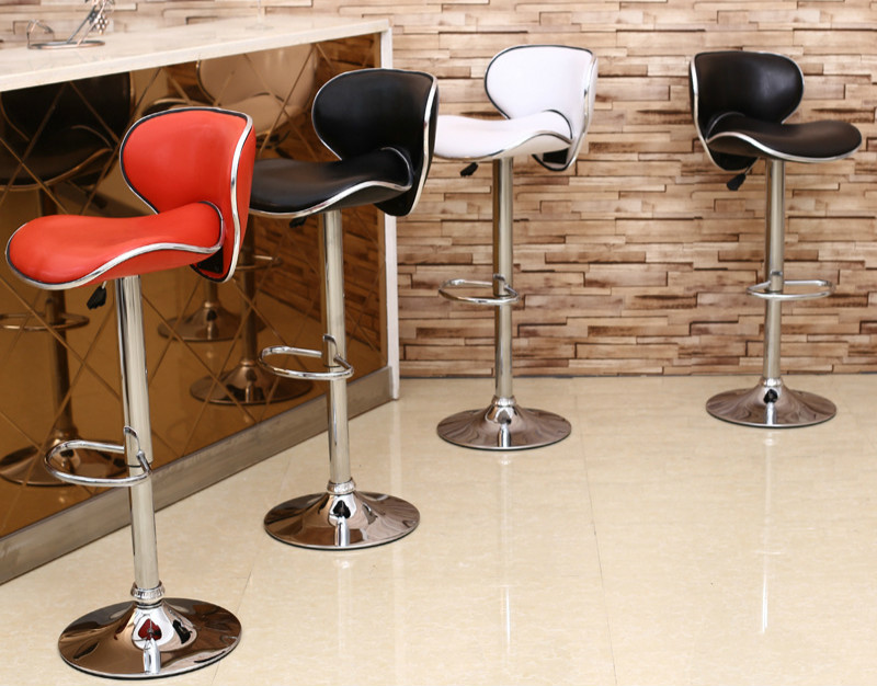 Provided Lifting Swivel Counter Mordon Bar Chair 84-98cm Height Adjustable Iron Rotating High Bar Stool Chair Pu Leather Soft Backrest High Quality Bar Furniture