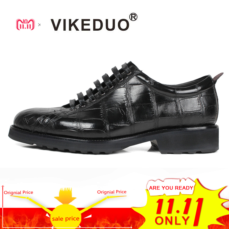 Vikeduo 2018 Handmade Fashion Luxury Shoes Black Genuine Leather Casual Mens Derby Style Formal Crocodile Dress Shoes Footwear цены