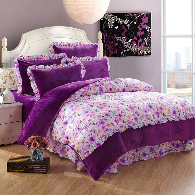 Use Of The Winter Colourful Colour Printing Warm Flannel Bedding Sets Queen King