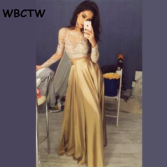 174ee57b1ed WBCTW Satin Ruffle Long Skirt 2019 Gold High Waist Skirt Elegant Party  Women Skirt Solid XXS-10XL Plus Size Maxi Skirts