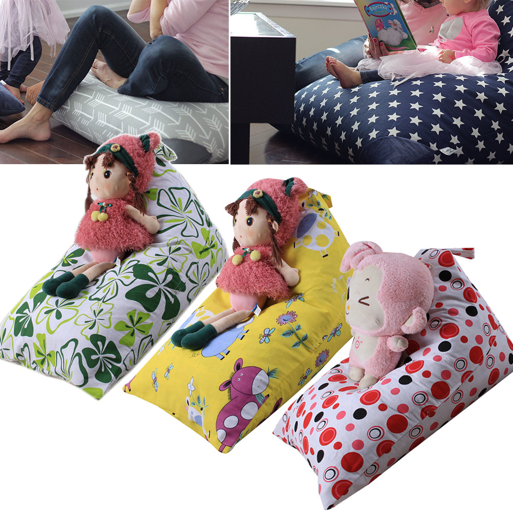 2018new kids stuffed animal plush toy storage bean bag soft pouch stripe fabric chair storage. Black Bedroom Furniture Sets. Home Design Ideas