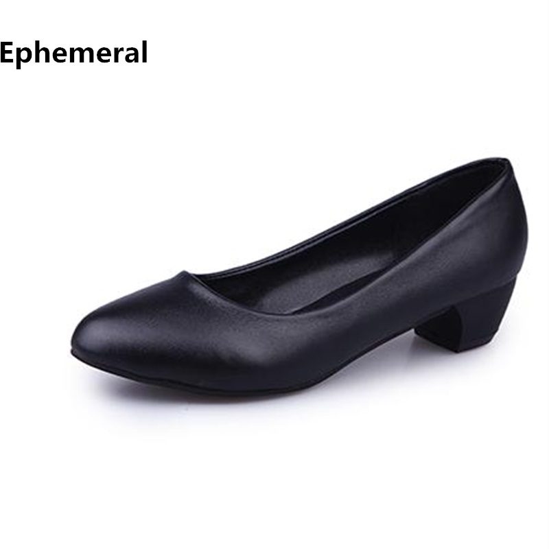 Ladies OL Low Heels Shoes Pointed toe Zapatos Stilettos Mujer Plus size 41 4 Women Black and White Pumps Brand Fashion Ephemeral