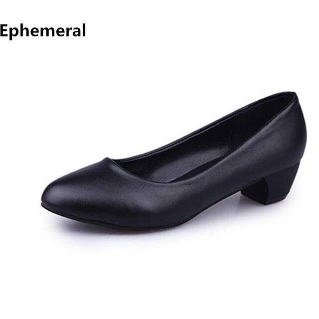 9bf75c2ba Senhoras OL Sapatos de Saltos Baixos Apontou toe Stilettos Zapatos Mujer  Plus tamanho 41 4 Mulheres
