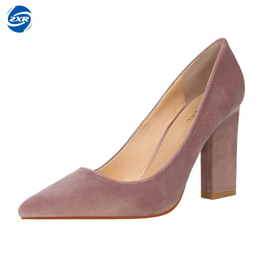 New Designer Flock High Heels Women Elegant Shoes Woman Red High Heel Pumps Office Ladies Shoes Luxury Brand Bigtree Shoes newest solid flock high heel pumps woman