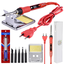 JCD 220V 80W LCD Electric Soldering iron Adjustable Temperature Solder Welding rework tool soldering pump irons kit tips cleaner