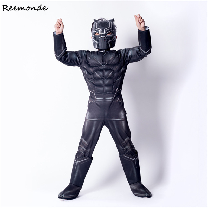 Kids Black Panther Muscle Cosplay Costume Civil War American Captain Superhero Halloween Party Fancy Dress Jumpsuit For Boys
