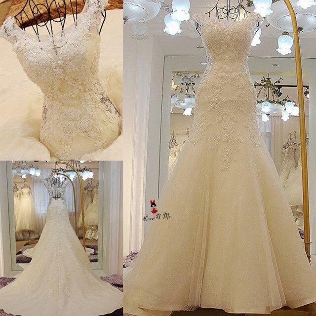 e90ea7bb2 Real sirena Vestidos de novia 2018 Encaje apliques espalda abierta vestido  de novia más tamaño Berta
