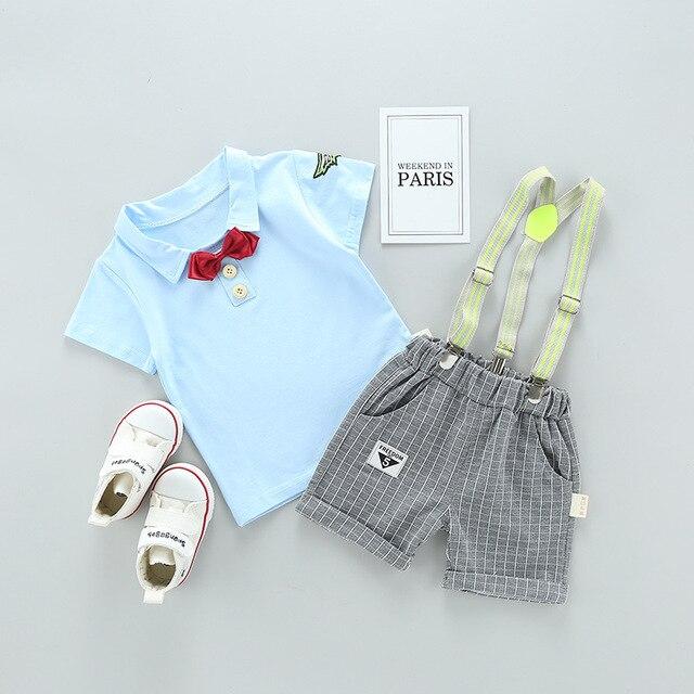 8bc0aa83436 Summer baby boy clothing set newborn infant clothing 2pcs Red bow tie short  sleeve t-