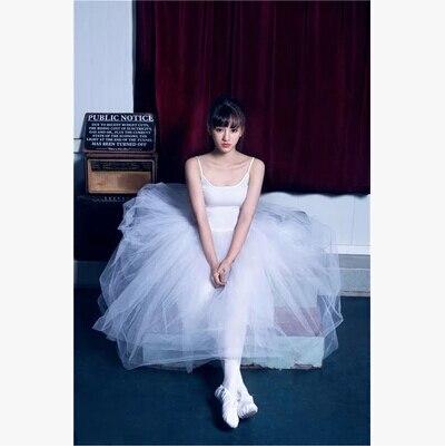 Professionnel adulte femme ballet justaucorps jupes danse vêtements combinaison tutu jupe spaghetti sangle longue robe en tulle costume de gymnastique - 2