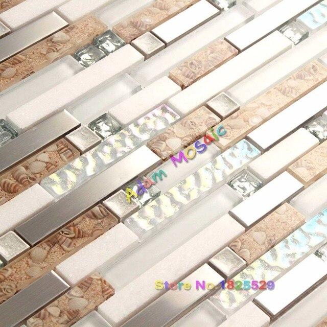 Pared del baño azulejos de mosaico de piedra blanca azulejo ...