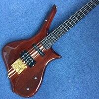 סגנון חדש מותאם אישית באיכות גבוהה גיטרה בס 5 מיתרים, אבוני חיף, חתיכה אחת של צוואר וגוף, משלוח חינם
