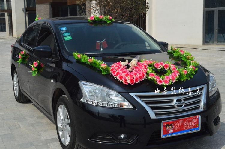 2017 neue Kunstseide Rose Blumen Hochzeit Auto Dekoration Set Mit - Partyartikel und Dekoration - Foto 4