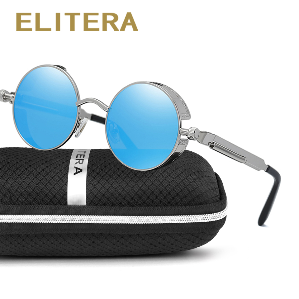 ELITERA High Quality Steampunk Sunglasses Men Women Metal Wrap Eyeglasses Round Shades Brand Designer Sun glasses Mirror UV400