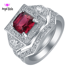 Shining Square Red Zircon Wedding Ring Set Vintage Fashion Silver Filled July Birthstone Bridal Double Rings R-091 Free Shiping