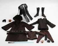 Costume1/6 Set Model Robe set Anakin Skywalker head cloak with boots and light blade Toy Fit 12 Male Figure Body Model