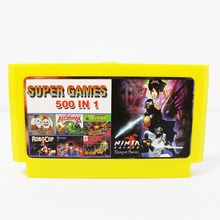 Hot 500 In 1 Pocket Games In 1 Cartridge Big Yellow Game Card For 8 Bit Game Player