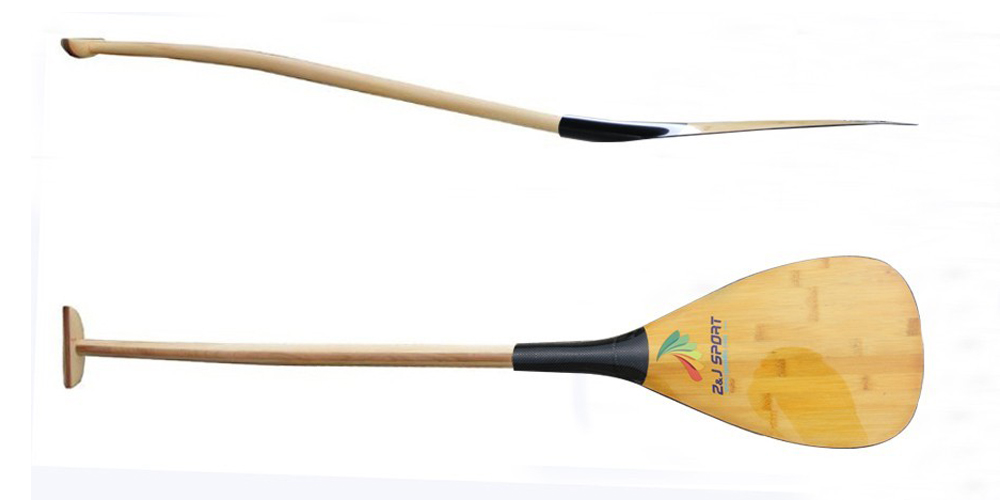 Z&j Sport New Hawaii Type Hybrid Outrigger Canoe Oc Paddle With Carbon Bamboo Veneer Blade And Handcrafted Wooden Bent Shaft Sports & Entertainment Water Sports