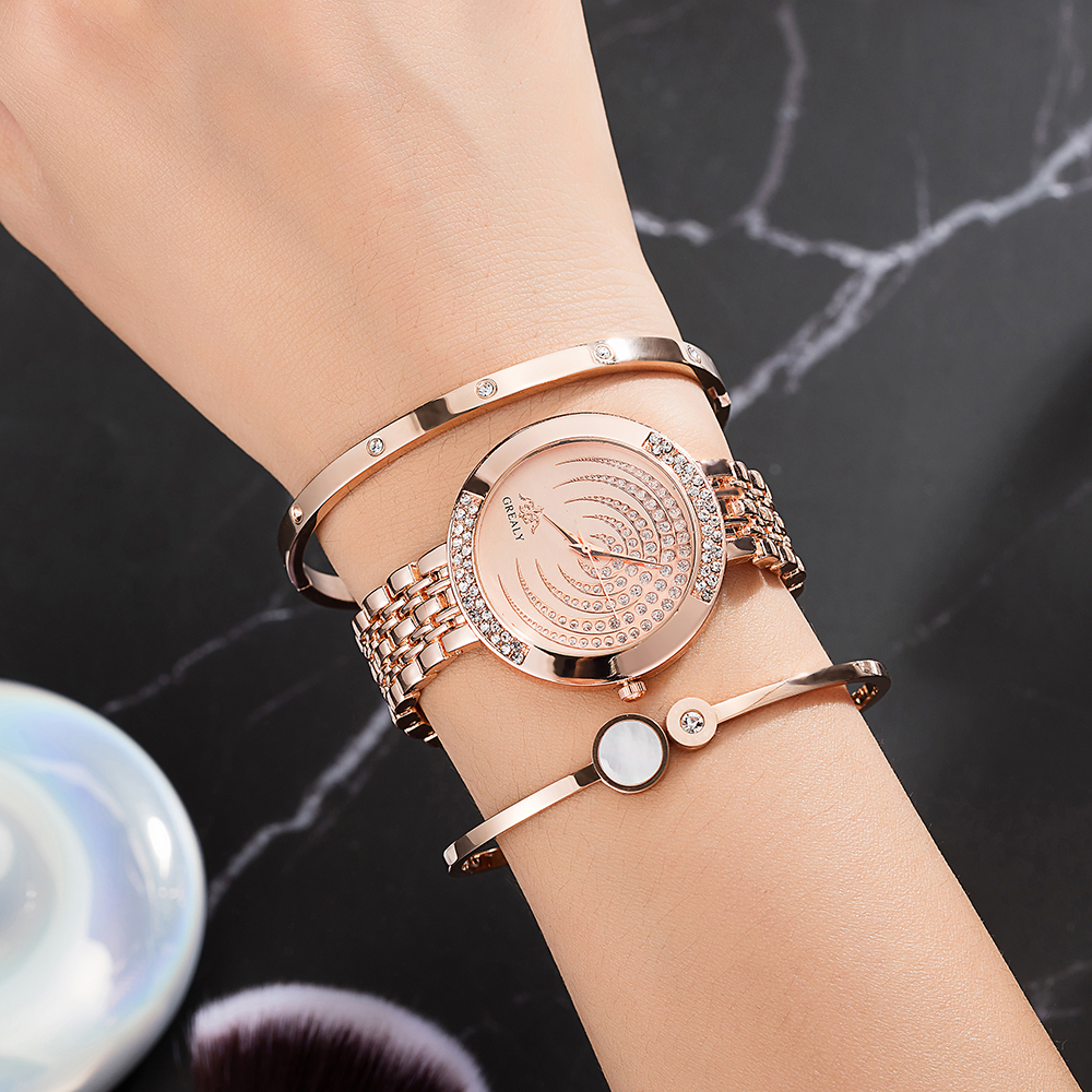 Top Designer 3 PCS Women Bracelet Watch Set Include 2 PCS Bracelet 1 PCS Watches 1 PCS Watch box Big Gift Set for girlfriend hot in Women 39 s Watches from Watches
