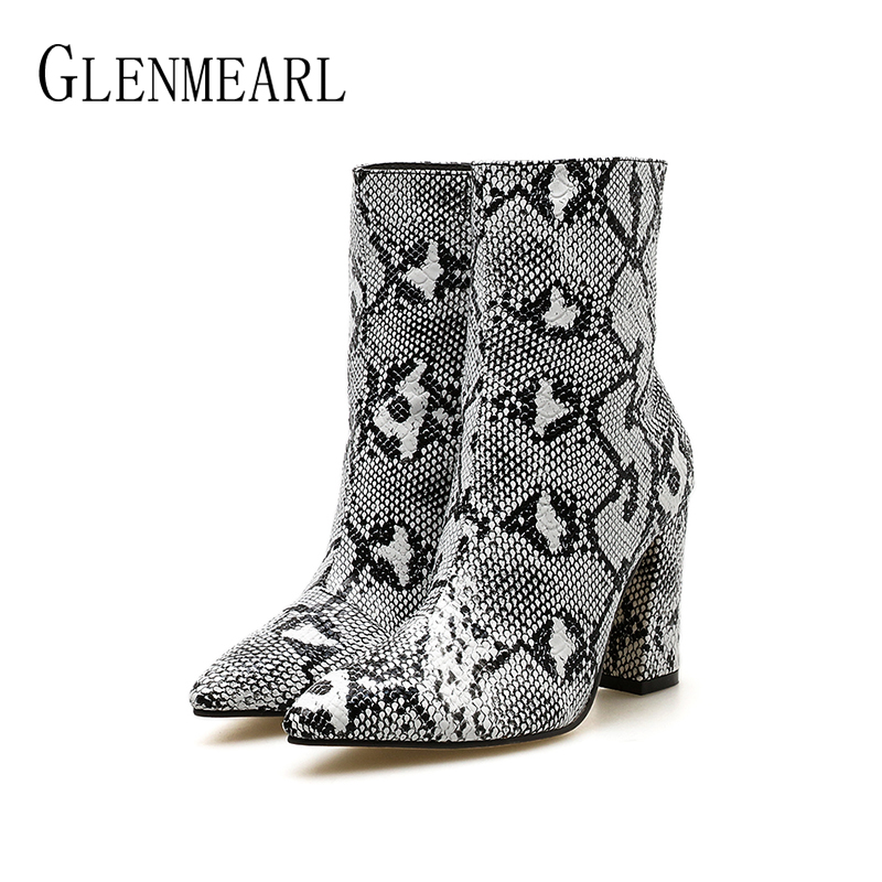 Women Boots High Heels Winter Shoes Snakeskin Ankle Boots Female Sexy Casual Boot Party Ladies Shoe Zip New Arrival Plus Size DE