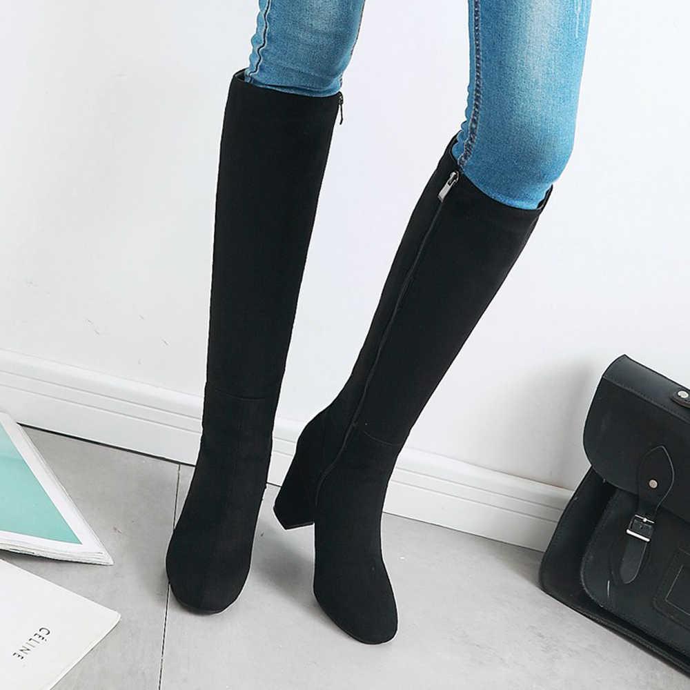 Meotina ผู้หญิงฤดูหนาวหนาเข่าส้นสูงรองเท้าบูทซิปสแควร์ Toe ส้นสูงสูงหญิงรองเท้าใหม่สีแดงขนาดใหญ่ 33-43