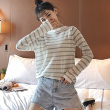 Women Long Sleeved Striped T Shirt Harajuku Top Round Neck Korean Style Tshirt female Summer Casual Tops 2019 New