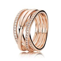New 925 Sterling Silver Ring Rose Gold Openwork Eternity Entwined Crystal Ring For Women Wedding Gift