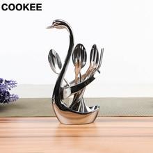 1pcs swan& 3spoons&3forks Swan Fruit Spoon Fork Rack  Fruit Dessert Fork Cutlery Holder Creative Tableware Salad Spoon