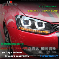 Hireno Car Styling Headlamp For 2011 2015 Volkswagen Polo Headlight Assembly LED DRL Angel Lens Double