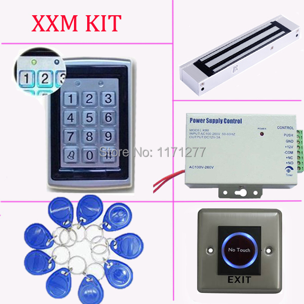 Access control kit,EM ID Card standalone single door access control system+power supply+magnetic lock+exit button+FRID key hot sale completed door access control system kit v2000 c and electric control lock power supply exit button 10pcs id key cards