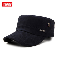 UNIKEVOW Letter  washed military cap Sport flat top Hat for men Outdoor high quality hat with copper holes
