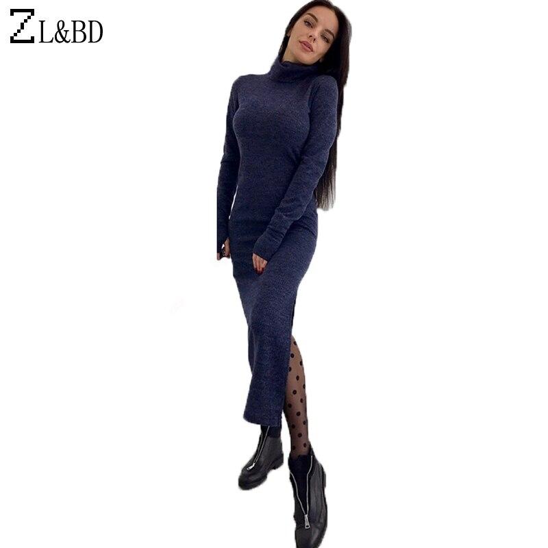 ZL&BD Ladies Elegant Side Split Dress Vestido 2018 Spring Long Sleeve Turtleneck Dress Women Slim Fit Knitted Long Dress ZA070 вечернее платье mermaid dress vestido noiva 2015 w006 elie saab evening dress
