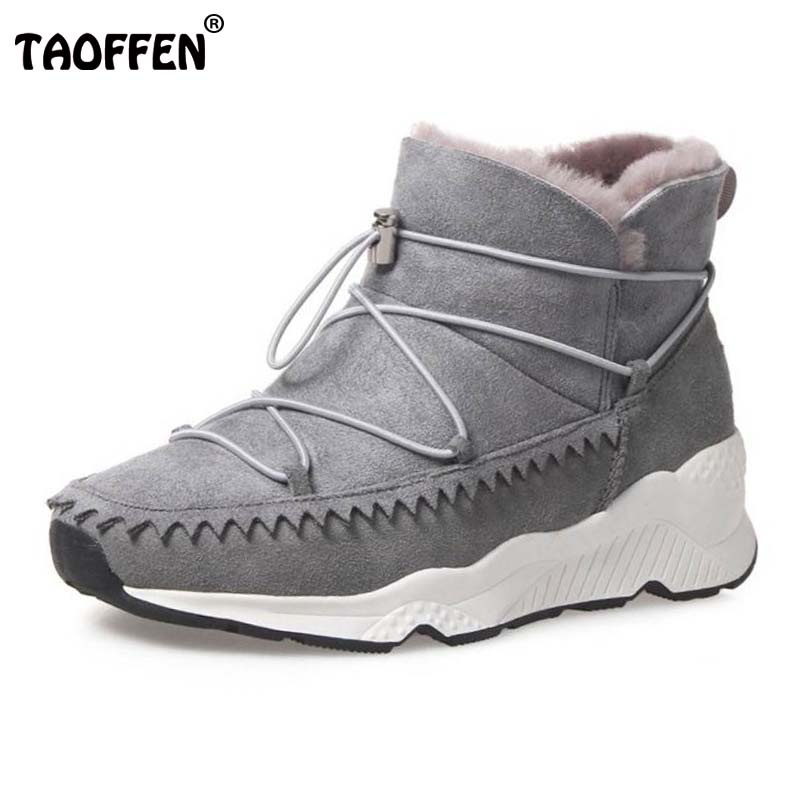 TAOFFEN Size 34-42 Warm Winter Shoes Women Real Leather Warm Fur Ankle Snow Boots Women Cross Strap Thick Platform Winter Botas women s winter genuine leather platform boots faux fur mink hair shoes black shoes size 34 40 wb010