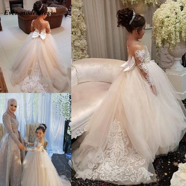 2020 Champagne Ball Gown Flower Girls Dresses Sheer Neck Applique Lace Birthday Party Dress Girls Pageant Party Gowns With Bow
