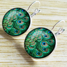 Brand Vintage Hoop Earrings 2019 Halloween Jewelry Round Cameo Crystal Cabochon Ethnic Peacock Feather Earrings Dangle ethnic peacock feather velvet covered edge soft scarf