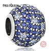 FirstQueen Aliexpress 100 925 Sterling Silver Blue Clearly CZ Round Charm Fit Bracelet DIY Women Fashion