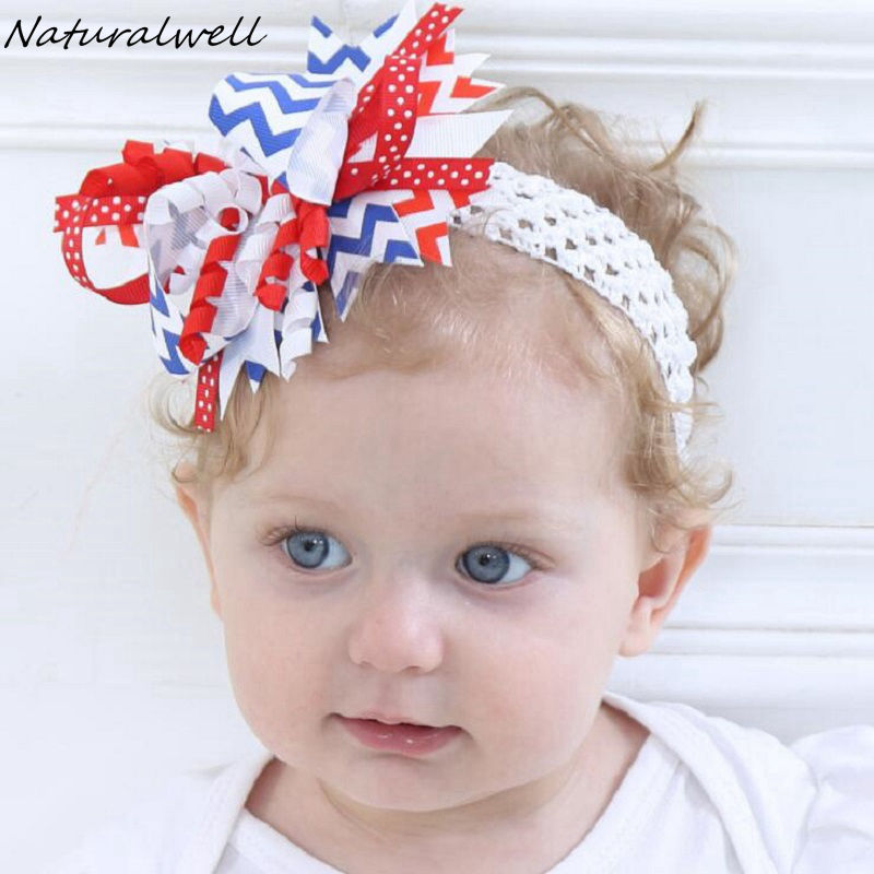8e0618bf975c0 Naturalwell 4th of July baby girl red white blue headband Boutique Over the  Top Hair Bow Baby Headbands Patriotic Bows HB553