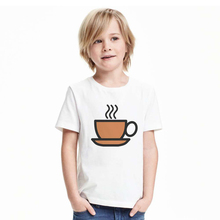 Cool Print T-shirt boys&girls A Cup of Tea Funny Fashion White Tops kids Casual Short Sleeve Tees Shirts coffee print Clothing