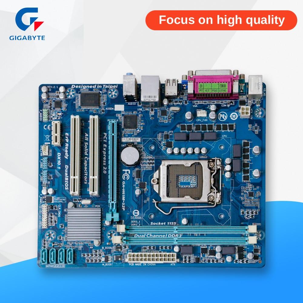 Gigabyte GA-H61M-S2P Original Used Desktop Motherboard H61M-S2P H61 Socket LGA 1155 DDR3 Micro-ATX On Sale gigabyte ga ma770 es3 original used desktop motherboard amd 770 socket am3 ddr2 sata2 usb2 0 atx