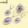 XUTAAYI Created Purple Amethyst White Crystal Fashion 925 Silver Jewelry Sets Flawless Necklace Rings Earrings Wedding Jewelry