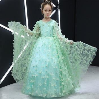 2018 New Luxury Gorgeous Children Girls Catwalk Host Piano Pageant Costume Long Prom Dress Teens Toddler Birthday Evening Dress