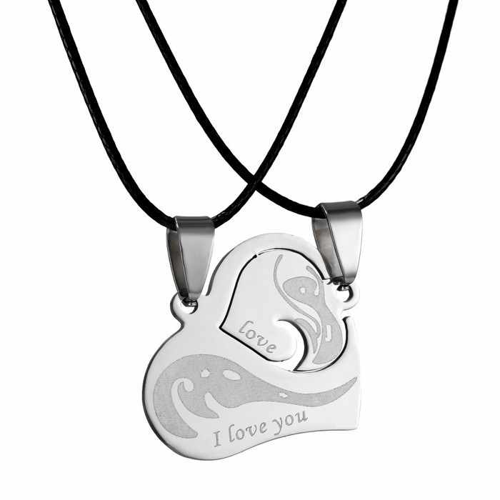 Fashion Stainless Steel Pendant Necklaces Heart Couple Puzzle Necklace Set for women men lovers  gift jewelry
