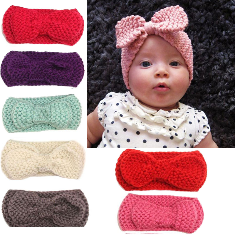 Naturalwell Mul-Color Kids Ear Warmer Hairband Bow Knot Headwrap Baby Girl Crochet Turban Headband Knitted Hair Band Accessories 13 colors lovely girls print floral rabbit ears hairband turban knot headband hair band accessories